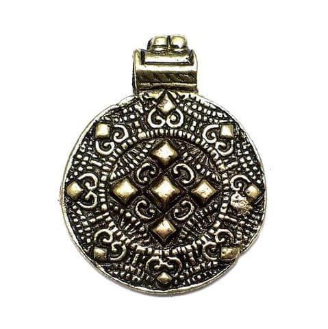 Antique Golden Metal Pendant 2.25x1.50 Inch