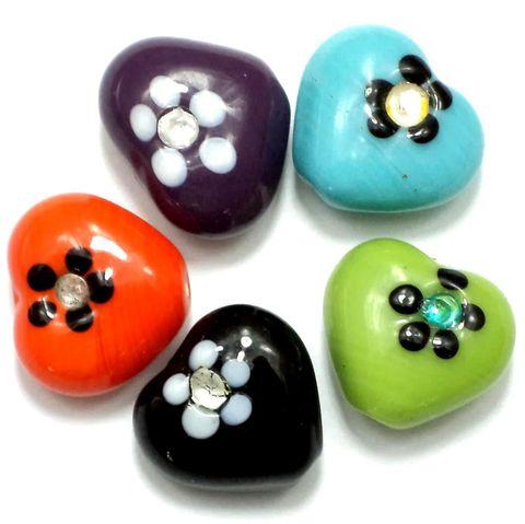 20+ Fancy Flower Heart Beads Assorted 18x20 mm