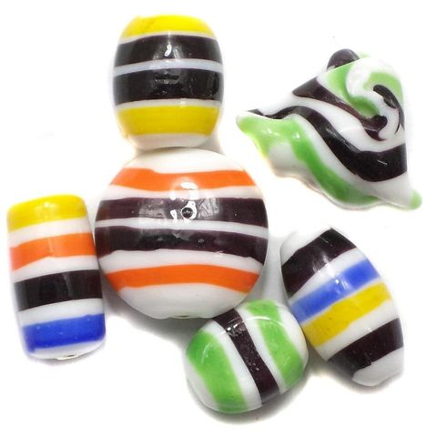 25+ Stripy Fancy Beads Assorted 12-20 mm