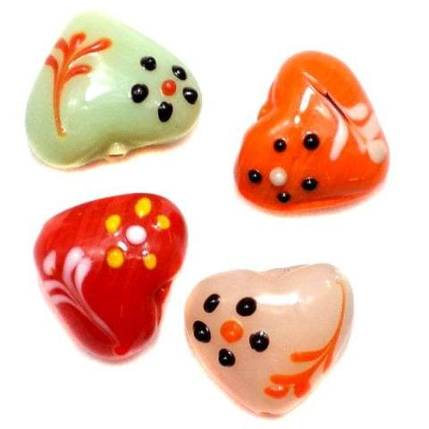 10 Valentine Heart Beads Assorted 16x20 mm