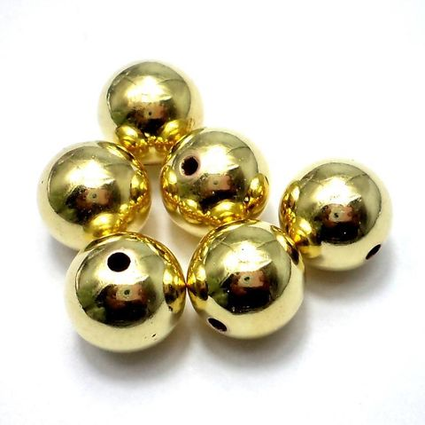 50 Pcs CC Round Beads Golden Finish 14 mm