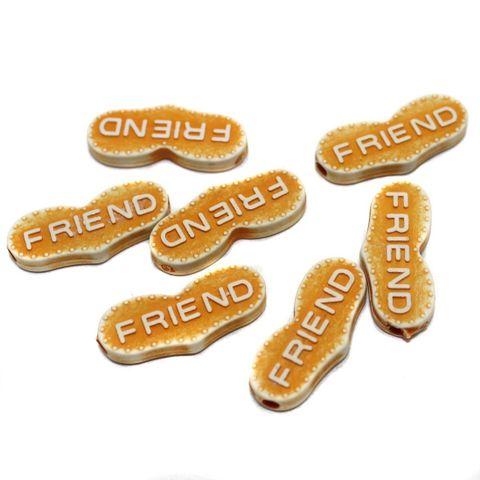 100 Acrylic Friend Beads Orange 24x10mm