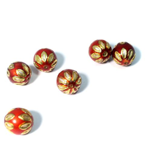 10 Meenakari Round Beads Red & Orange 13mm