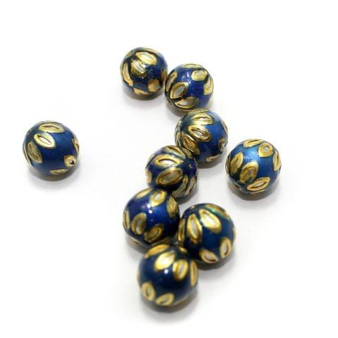 10 Meenakari Round Beads Blue 13mm