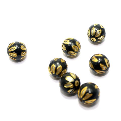 10 Meenakari Round Beads Black 13mm