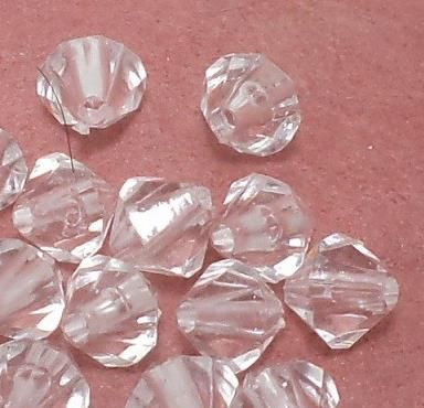 200 Pcs. Acrylic Faceted Crystal Bicone Beads Trans White 8mm