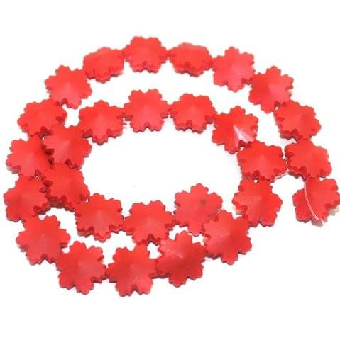 50 Neon Acrylic Flower Beads Red 15mm
