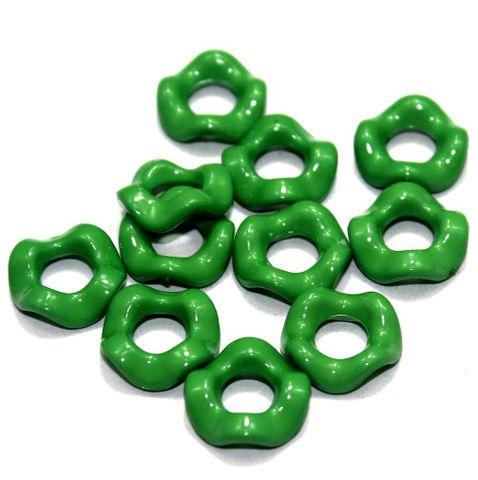 100 Acrylic Ring Beads Green 15mm