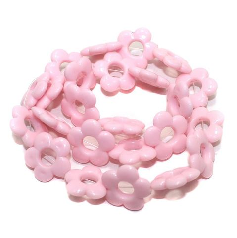 40+ Acrylic Flower Beads Pink 18mm