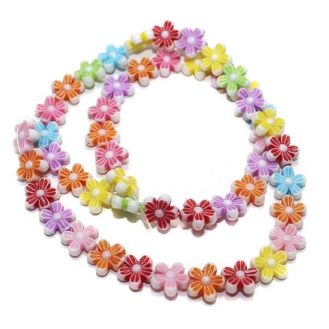 2 Strings Acrylic Flower Beads Assorted 9mm