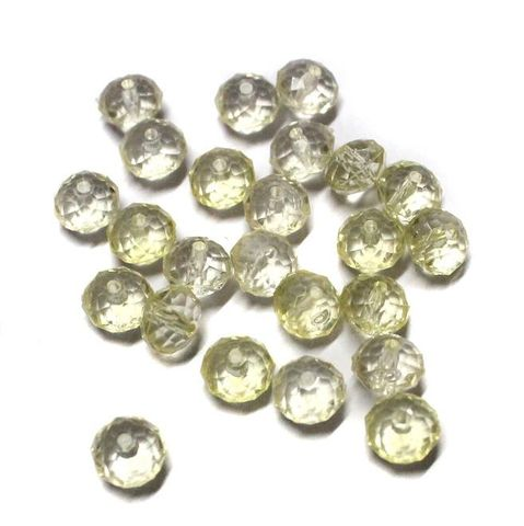 95+ Acrylic Crystal Faceted Roundell Beads Yellow 6x8mm