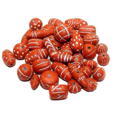 50 Clay Beads Assorted Orange 12-30mm