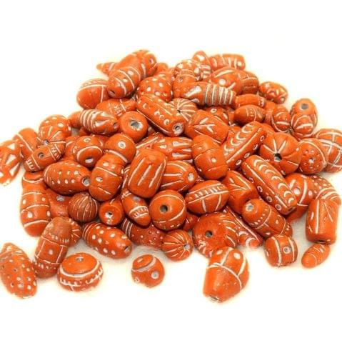 50 Clay Beads Assorted Light Orange 12-30mm