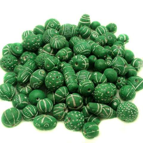 50 Clay Beads Assorted Green 12-30mm