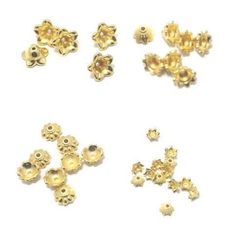 Silk Thread Jewellery Making Acrylic Bead Caps Combo 4 Size, 225 Pcs