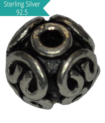 Sterling Silver Round Ethnic Bead.