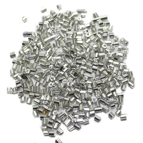 Seed Bugles Beads Silver (100 Gm), Size 11/0