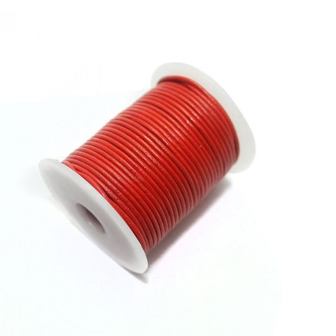 Jewellery Making Leather Cord 2mm Red-25 Mtr