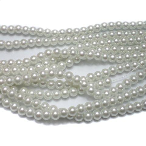 70+ Glass Pearl Round Beads White 6mm