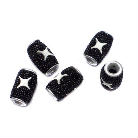 10 Pcs. Lac Tube Beads Black 15x10mm