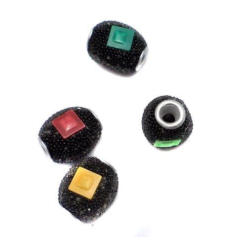 10 Pcs. Lac Oval Beads Black 15x12mm