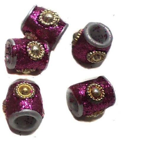 20 Pcs. Lac Round Tube Beads Magenta 10mm