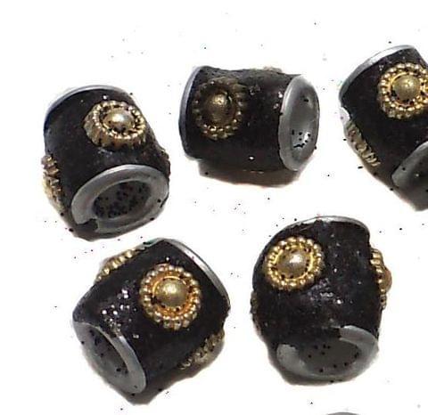 20 Pcs. Lac Round Tube Beads Black 10mm