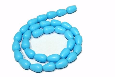 5 strings Glass Drop Beads Turquoise 12x8mm