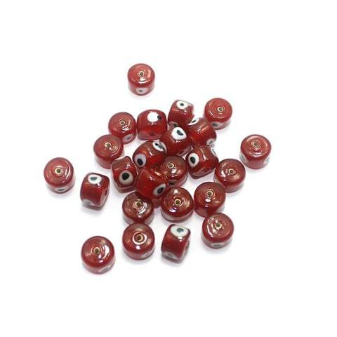 125 pcs Evil Eye Tyre Beads Red 13x9mm