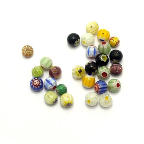 100 Chevron Round Beads Assorted 8mm