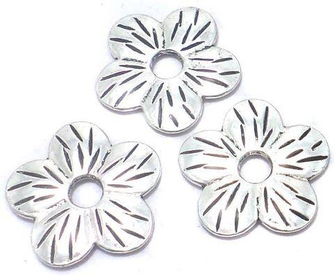 30 Pcs. German Silver Flower Beads 22mm