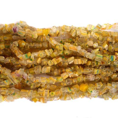 155+ Millefiori Glass Chips Yellow 4-6mm