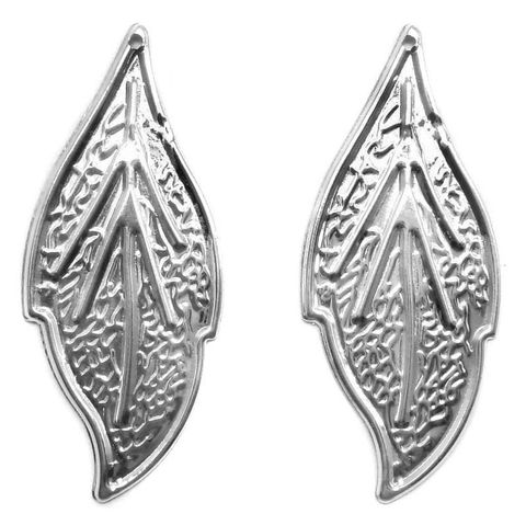 2 Pair Ear Ring Leaf Component Silver 2x0.50 Inch