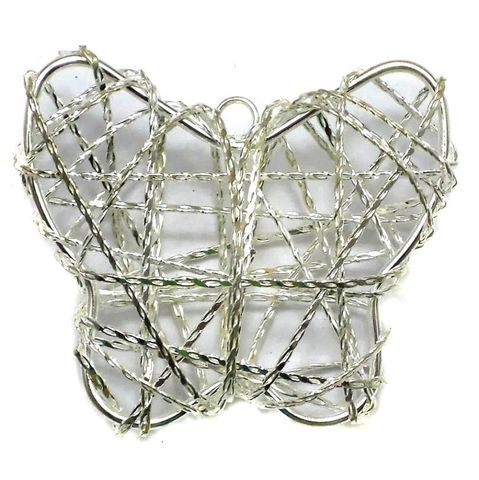 2 Wire Mesh Butterfly Beads Silver 44x50mm