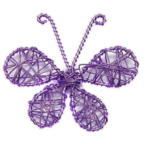 2 Wire Mesh Butterfly Beads Violet 56x65mm