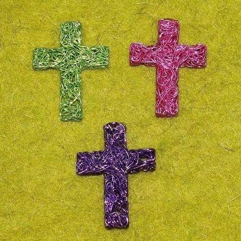 3 Wire Mesh Cross Beads Assorted 44x38mm