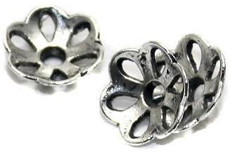 50 German Silver Beads Cap 10mm