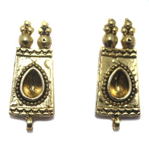 4 Pair German Silver Earring Component Golden 24x11mm