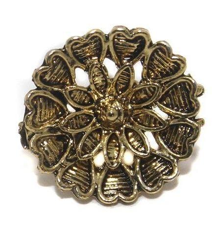 2 Pair German Silver Flower Earring Component Golden 17mm