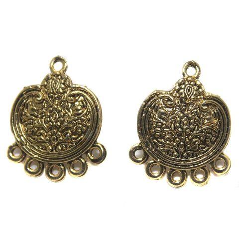6 Pair German Silver Earring Component Golden 21mm