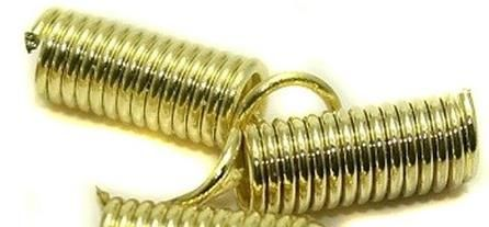 100 Spring Tips Cord Ends Golden 15x4mm