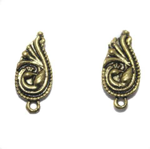2 Pair German Silver Antique Golden Peacock Earring Component 18x9mm