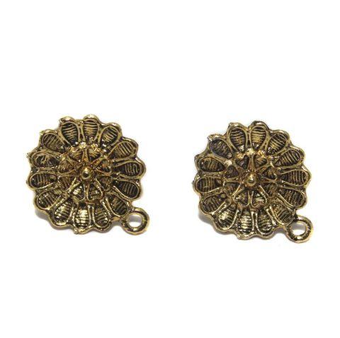 6 Pair German Silver Flower Earring Component Golden 18mm