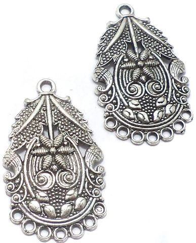 2 Pair German Silver Earring Component 40x20mm