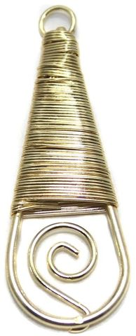 2 Pair Earring Components Wire Wrap Golden 42x18 mm
