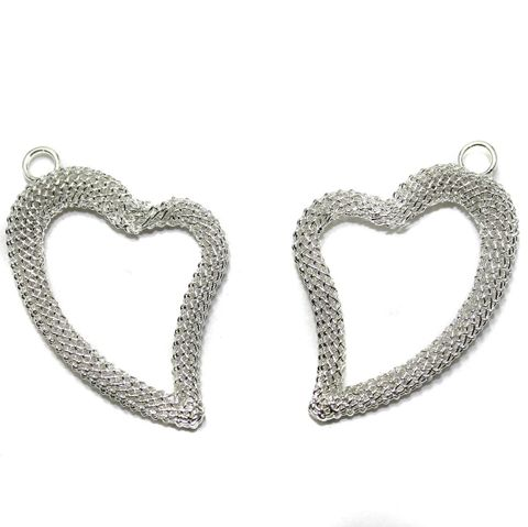 2 Pair Earring Components Heart Silver 38x28 mm