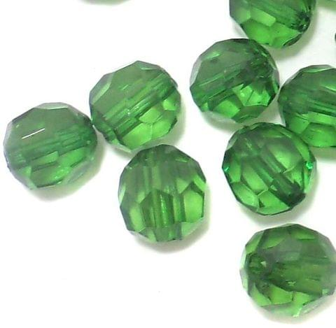 200 Pcs. Acrylic Faceted Crystal Football Beads Trans Green 10 mm