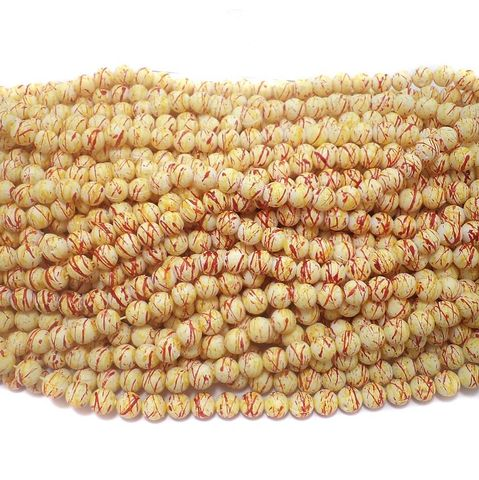 600+ Acrylic Printed Round Beads Yellow And Red 7mm