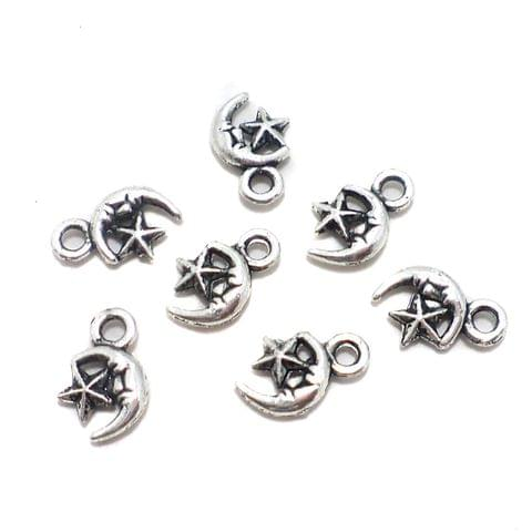 200 Pcs. German Silver Star Moon Pendants Charms 8x6 mm
