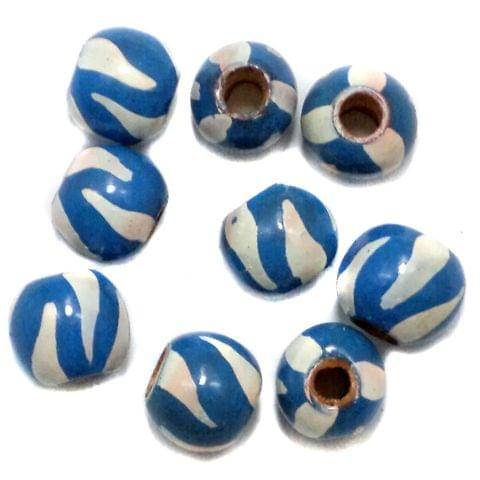 50 Wooden Hand Painted Round Beads Blue and White 10mm